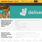 Enjoy S $10 off with a Minimum Spend of S $35 at Deliveroo with Maybank Cards