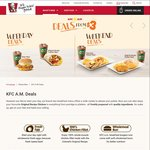 KFC a.m. Weekday and Weekend Breakfast Deals - Starting from $3