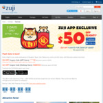 $50 off or $25 off Airfares (Min Booking $500) @ Zuji