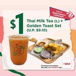 Large Thai Milk Tea & Golden Toast Set for $1 (U.P. $9.10) at Tuk Tuk Cha via UPGREAT App
