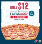 Large Crunchy Thin Crust Pizza for $12 (U.P. $17.80) at Domino's Pizza