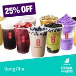 25% off at Gong Cha and 15% off at An Acai Affair, Mui Kee Congee & Yujin Izakaya via Deliveroo