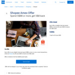 $8 Statement Credits When You Spend $88 or More at Shopee (American Express Cards)