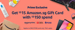 Bonus $15 Gift Card When You Spend $150 at Amazon SG (DBS/POSB Cards) [Prime Members]