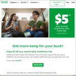 $5 off Your Second Same-Day GrabShare Ride with Grab