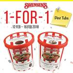1 for 1 Ice Cream Pint Tubs at Swensen's via App (Monday 12th to Friday 16th February)