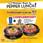 Free Complimentary Drink and Side Dish with Purchase of Signature Dish at Pepper Lunch