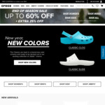 Up to 60% off + Extra 25% off at Crocs
