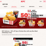 50% off 2pcs Chicken Box with Any Box Meal at KFC (Weekdays)
