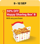 50% off Happy Sharing Box B with Any Purchase at McDonald's McDelivery