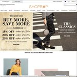 15% Off $200, 20% Off 500, 25% Off $800 at Shopbop