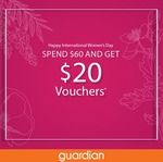 Spend $60 and Get a $10 Store Voucher ($20 Min Spend) and $10 e-Store Voucher ($60 Min Spend) at Guardian