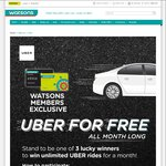 Win 60x $10 Uber Promo Codes (3 Winners) from Watsons