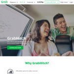 25%, 40% or 50% off 2nd GrabHitch Ride of The Day with Grab (Monday 19th to Friday 23rd February)