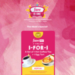 1 for 1 Set of Hot Coffee/Tea & Egg Tart at Kopi Tarts with FavePay Payment via Fave App