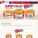 25 Chicken Nuggets, 5pcs Chicken or 10 Crispy Chicken Tenders for $10 at KFC [Chick N Share]