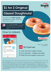 2x Original Glazed Doughnuts for $1 at Krispy Kreme for Singtel Customers via Singtel Rewards App