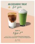 1 for 1 Venti-Sized Caramel Macchiato/Chocolate Chip/Green Tea Frappuccino at Starbucks (Members)