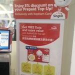 5% off Singtel Prepaid Top-Ups with Kopitiam Cards at Kopitiam Card Kiosks
