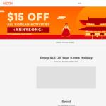Klook: $15 off Korea Activities with Min Spend of $150