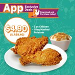 2pc Chicken & Regular Mashed Potatoes for $4.90 (U.P. $9.40) at Texas Chicken via App