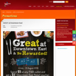 Spend $5 at Any Food & Beverage Outlet at Downtown East, Get a $5 Downtown East Retail Voucher