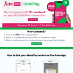 $1 Cashback ($1 Min Spend) on First GrabPay Transaction via Fave [previously Groupon]