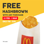 Free Hash Brown with Any Purchase at McDonald's via App (Fridays to Sundays)