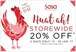 Sasa - 20% Off Store-wide In-Store for 5 Days