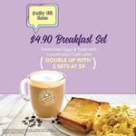 Breakfast Set (Includes Scrambled Eggs & Toast with Small Cafe Latte) for $4.90 Before 11am Daily at The Coffee Bean & Tea Leaf