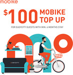 Free $100 Mobike Top-Up/Credit for Easycity Tenants (Minimum 6 Month Lease)
