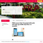 Free Lenovo Tab 7 Essential (LTE) with New Sign up of SIM-Only Plan (12-Months) at M1