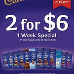Cadbury Dairy Milk Chocolate Blocks, 180g to 200g - 2 for $6 (U.P. $10.40) at Cold Storage, FairPrice, Giant & Sheng Siong