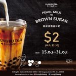 Pearl Milk Tea with Black Sugar for $2 (U.P. $3.30) at Kung Fu Tea