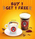 1 for 1 Beverages at J.CO Donuts & Coffee (Monday 10th to Tuesday 11th April, 3pm to 8pm)