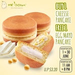 Buy 1 Cheese Pancake at $1.80, Get 1 Free Egg Mayo Pancake (U.P. $3.20) at Mr Bean via Qoo10
