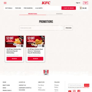 $2 off 3pcs Chicken Meal at KFC (DBS PayLah! Payments, Wednesdays)