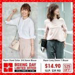 UNIQLO Boxing Day Offer - Rayon Stand Collar 3/4 Sleeve or Long Sleeve T Blouse for $14.90 (U.P. $39.90)