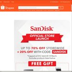 20% Off SanDisk Store at Shopee (Capped at $10)