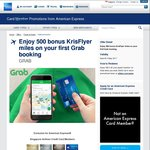 500 Bonus KrisFlyer Miles on First Booking with Grab (American Express Singapore Airlines Cards)