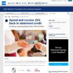 15% Statement Credits at Participating New Merchants with American Express Cards
