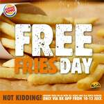 Free Fries at All Burger King Outlets When You Order a Meal or Ala-Carte Burger (via App)