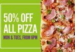 50% of All Pizza at Bar & Bistro/Marché Mövenpick  (Raffles City/JEM) [Mondays & Tuesdays, 6pm to Closing]