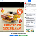 20% off McMuffin Stack Extra Value Meal (U.P. from $6.50) at McDonald's [Via App]