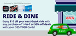 $10 off at Gojek Ride with Any 1 for 1 or 50% off Deal Purchase at Chope