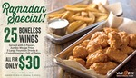 $30 for 25 Boneless Wings, Jumbo Wedge Fries and 3 Large Fountain Drinks at Wing Zone