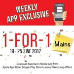 1 for 1 Mains at Swensen's via Mobile App (Monday 19th to Sunday 25th June)