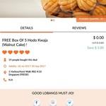 Free Box of 5x Hodo Kwaja (Walnut Cake) from Hodo Loco via Lobang King Club App