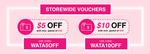$5 off ($30 Min Spend) or $10 off ($50 Min Spend) at Watashi Plus by Shiseido via Shopee