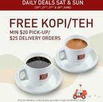 Free Kopi/Teh with Every Order During Weekends ($20 Min Spend for Pickup/$25 Min Spend for Delivery) at Toast Box